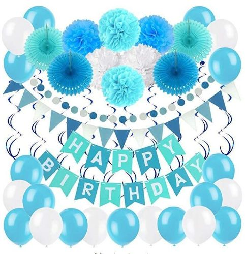 Boy Kids Birthday Decoration Party Supplies Set Happy Banner Bunting With 4 Paper Fans Tissue 6 Pom Poms Flower 10 Hanging Swirl And 20