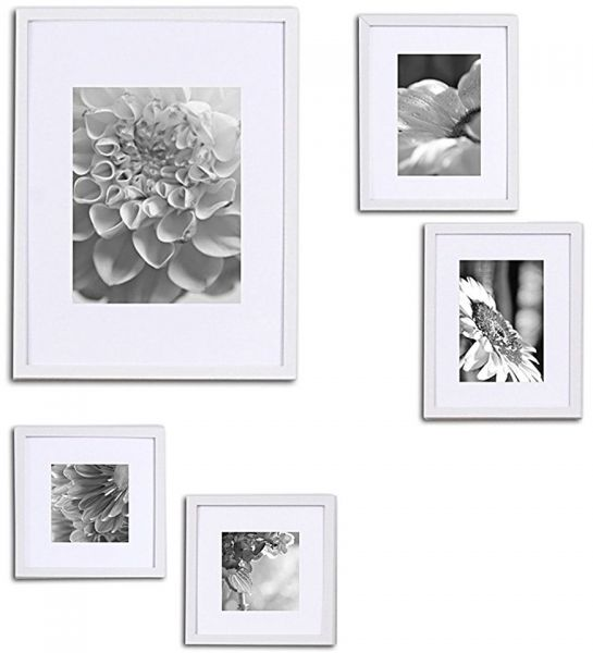 Gallery Perfect 5 Piece White Wood Photo Frame Wall Gallery Kit ...