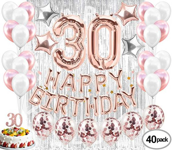 40pcs 30th Birthday Decorations Set For Her