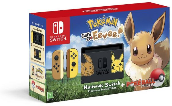 Nintendo Switch Lets Go Eevee Limited Edition Console with Joycon with Pokemon: Lets Go Eevee + Pokeball Plus Controller