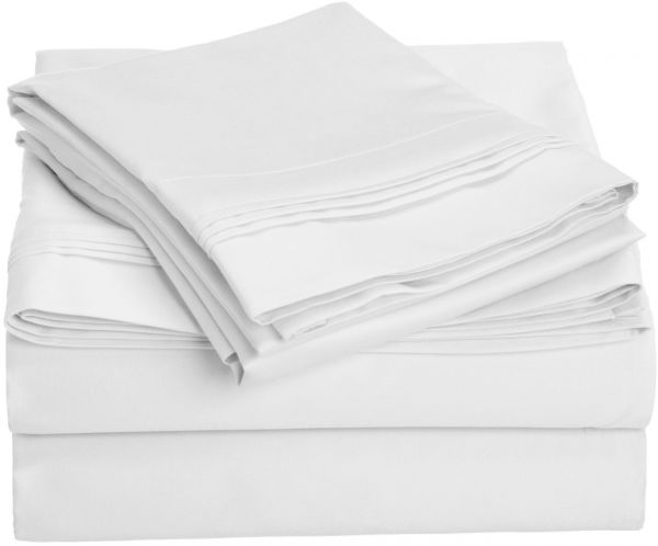 1000 Thread Count 100 Egyptian Cotton California King Bed Sheet Set Single Ply Solid White