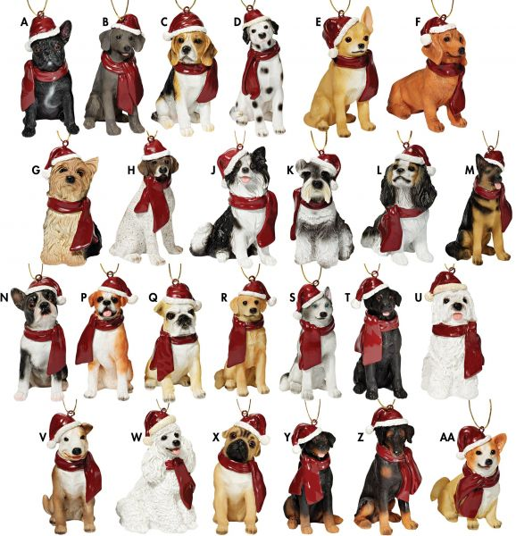 b3334145eb8 Design Toscano Assorted Dog Holiday Ornaments Christmas Tree ...