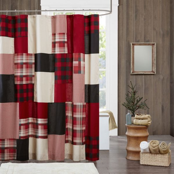 Woolrich Sunset Cotton Shower Curtain Plaid Lodge Cabin Curtains For Bathroom 72 X Red