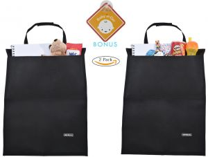 Alphabetz 2 Piece Kick Mats Car Seat Protectors With Storage Pocket And Baby In Sign Black
