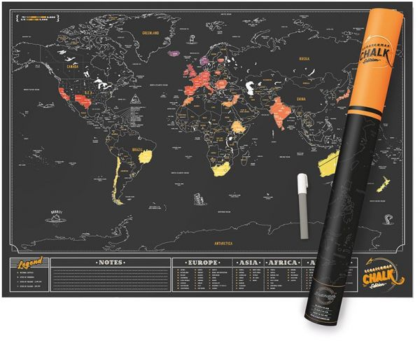 Scratch MAP Chalk Edition World Map Poster Chalk Pen Included! Track Your  Adventures with Perfect Travel Gift (23 4x32 5in) Scratch Off Map Sold by