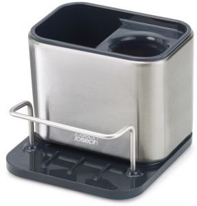 Joseph 85133 Surface Sink Caddy Stainless Steel Sponge Holder Organizer Tidy Drains Water For Kitchen Small Silver
