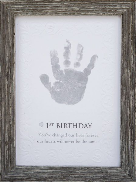 The Grandparent Gift Babys First Birthday Keepsake Kit For Hand Or Footprint Farm House Style Frame Grey
