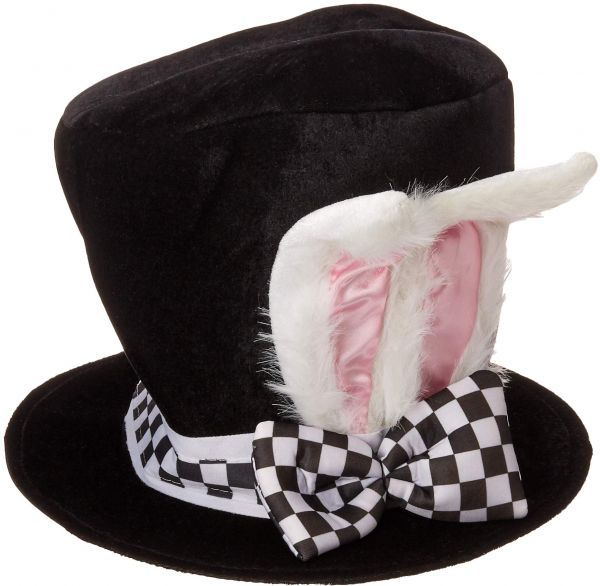86ed13e86d1 Jacobson Hat Company Men s Velvet Bunny Ear Top Hat with Checkered Bow Tie
