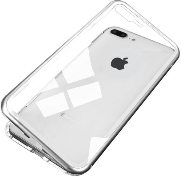 best service bb95d 00840 CASEIER Magnetic Adsorption Phone Case for iPhone 7 Plus & 8 Plus Metal  Magnet Tempered Glass Case Cover - White