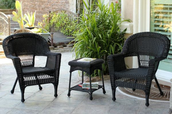 Jeco W00207 2 Ces 3 Piece Wicker Chair And End Table Set Without