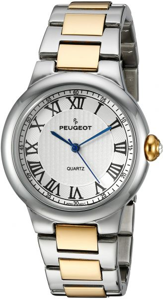peugeot women's 'silver' quartz metal and alloy dress watch, color