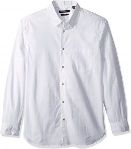 8e9daede3 French Connection Men's Overdyed Poplin Long Sleeve Button Down Shirt,  White, L