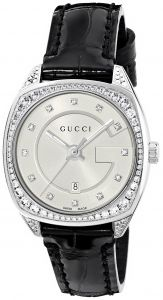 246ca7ac03a Gucci Swiss Quartz Stainless Steel and Leather Dress Black Women s  Watch(Model  YA142507)