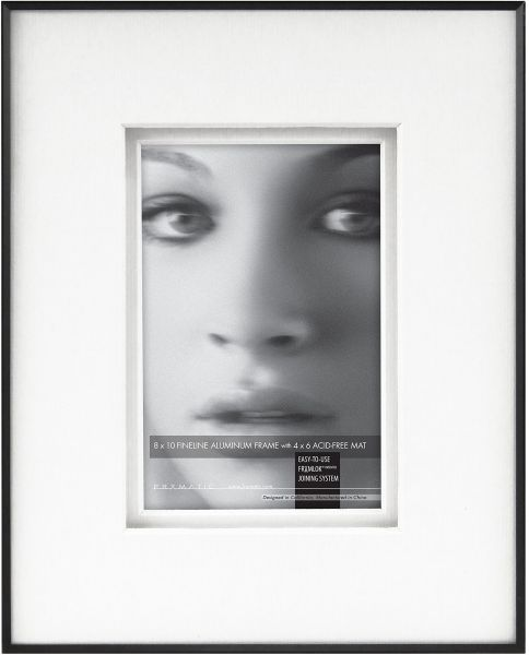 Framatic Fineline 8x10 Inch Aluminum Frame With Shadow Mat For 4x6