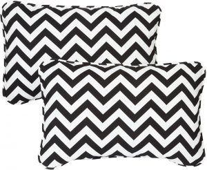 Mozaic Company Indoor/ Outdoor 12 By 18 Inch Corded Pillow, Black Chevron,  Set Of 2