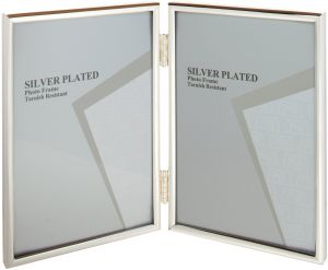 Viceni Silver Plated Thin Edge Hinged Double Aperture Photo Frame 5 7 Inch