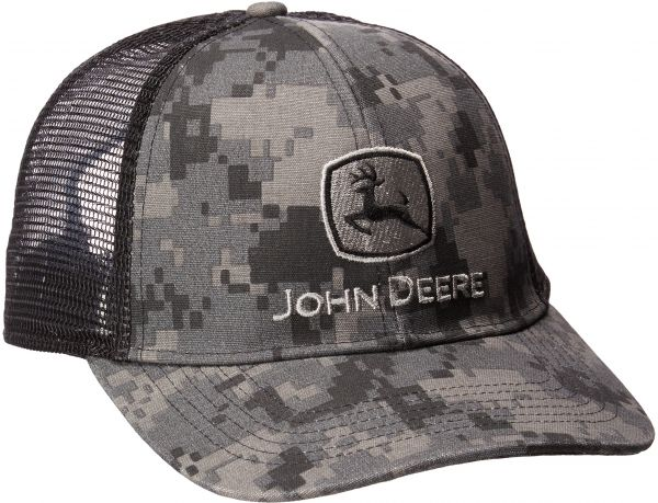 8a91566bf John Deere Men's Digital Camo and Mesh Cap Embroidered, Black, One Size