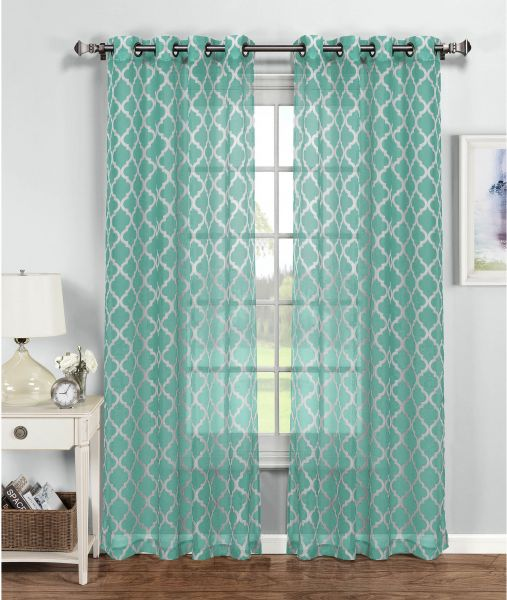 Window Elements Quatrefoil Printed Sheer Extra Wide 54 X 96 In Grommet Curtain Panel Turq White
