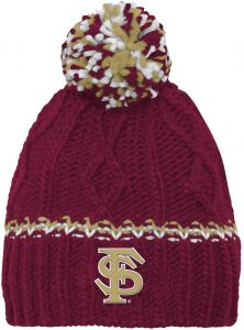 df9a6a0176dc2a NCAA by Outerstuff NCAA Florida State Seminoles Youth Girls Cable Knit  Cuffless Hat w/ Pom, Burgundy, Youth One Size