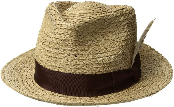 92f09bacfe8b38 Brixton Men's Crosby Medium Brim Straw Fedora Hat, Tan, M | KSA | Souq