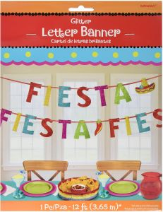 amscan cinco de mayo fiesta ribbon banner with glitter paper letters party supplies 6 piece 12 feet multicolor