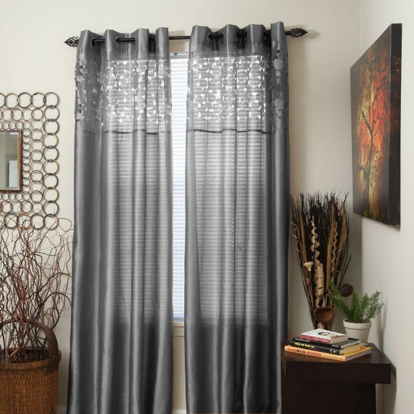 Bedford Home Karla Laser Cut Grommet Single Curtain Panel 95 Inch