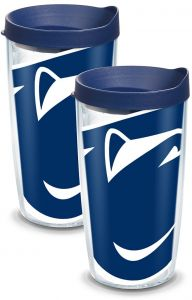 Clear Tervis 1093196 North Carolina Tar Heels Colossal Tumbler with Wrap and Navy Lid 2 Pack 16oz