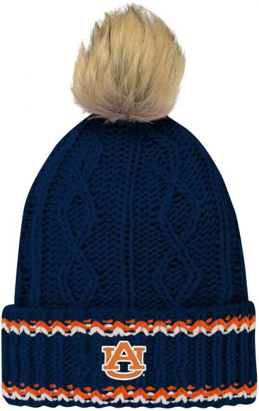 5b5bfb03cefbfb NCAA Auburn Tigers Youth Girls Core Furry Pom Cable Knit Hat, Youth Girls  One Size, Dark Navy | Souq - UAE