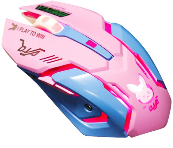Gaming Mouse, Backlit Optical Game Mice Ergonomic USB Wired with 2400 DPI and 6 Buttons 4 Shooting for Pro Game PC Computer Laptop Desktop Mac (D.VA) (Pink)