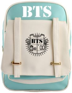 d39e26f38f9d Bangtan Boys Logo Backpack Green and White Color Matching Backpack PU  Leather Backpack for Unisex High College School Water Resistant Bookbag for  Women Men ...