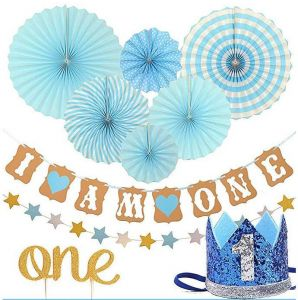 FIRST BIRTHDAY DECORATION SET FOR BOY 1st Baby Boy Birthday Party Blue Hat Crown Circle Dots Paper Garland Cake Topper Fiesta Hanging Fan
