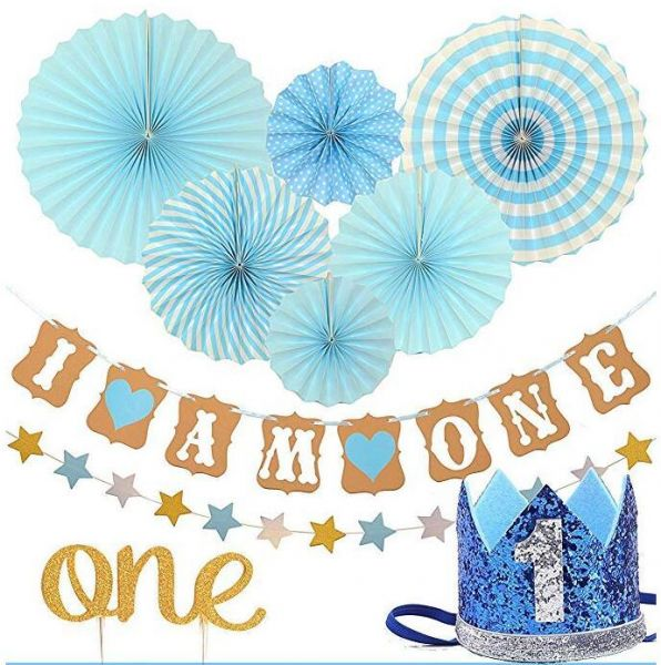 FIRST BIRTHDAY DECORATION SET FOR BOY 1st Baby Boy Birthday Party Blue Hat Crown Circle Dots Paper Garland Cake Topper Fiesta Hanging