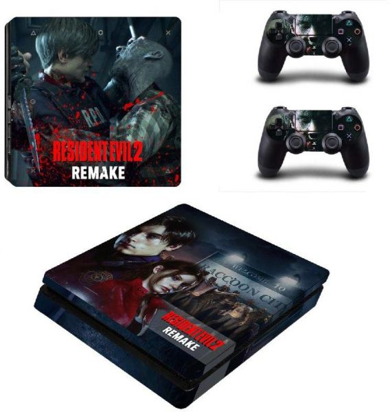 Resident evil 2 Remake Graphics Sticker protection for Playstation 4 slim  with Controller Sticker