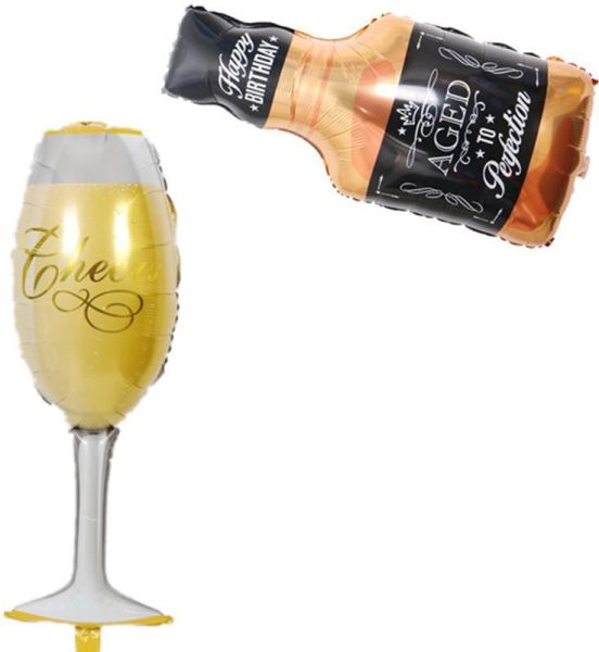Frosty Beer Mug Giant Foil Balloon Aged To Perfection Whiskey Bottle