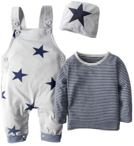 a8fadb551b6 BIG ELEPHANT 3 Pieces Baby Boy s Shirt Overalls Clothing Set with Hat H92  Grey X-Large
