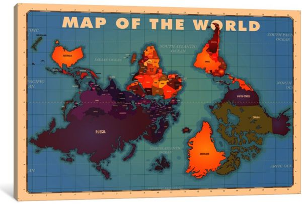 Icanvasart 1 Piece Upside Down Map Of The World Canvas Print By