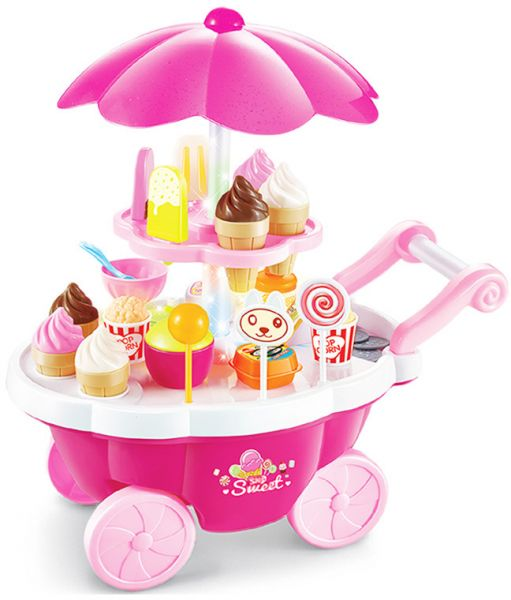 Kids Playset Toys Simulation Small Carts Girl Candy Cart Ice Cream