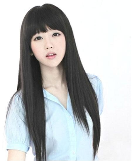 Straight Black Long Pure Korean Hairstyle Wig For Girls Women