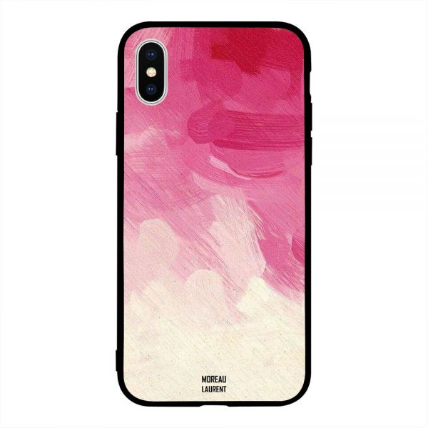 Apple Iphone X Case Cover Red Pink & Off White Pattern