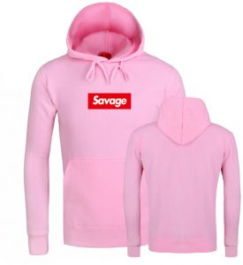 c00090ce0b6 Savage hooded sweater men and women fleece printed loose long-sleeved  pullover casual fashion coat -Pink  L