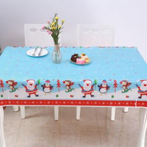 Disposable PVC Christmas Tablecloth New Year Dining Table Decorations For Home Rectangular Table Covers & Sale on pack rectangular table covers | AmscanTamona - UAE | Souq.com