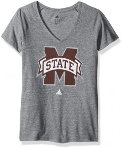 86951b50 adidas NCAA Mississippi State Bulldogs Adult Women Vintage Logo Tri-Blend  V-Neck S/Tee, Small, Dark Grey Heathered