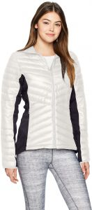 001 White Helly Hansen Womens Verglas Hybrid Down Insulator 700 Fill Insulated Cold Weather Jacket with Softshell Side Panels Large