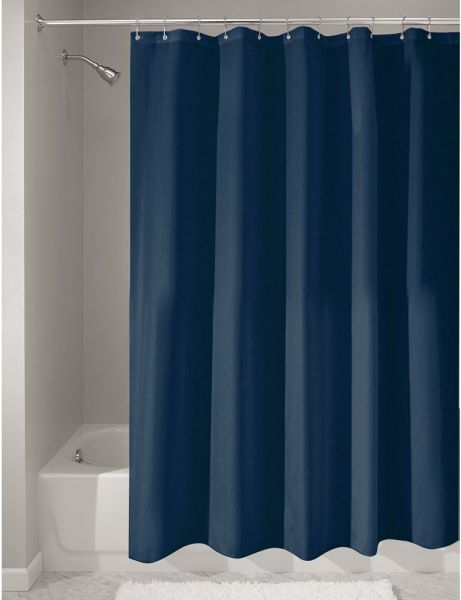 InterDesign Mildew Free Water Repellent Fabric Shower Curtain Long 72 X 84 Navy 14963
