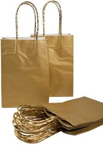 10pcs Paper Gift Bags With Rope Handles Small Gold Wrapping Bag For Birthday Party Wedding Graduation Cub Kraft Retail