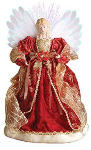 Windy Hill Collection 18Inch Standing Red Fiber Optic Lighted Angel  Christmas Tree Topper or Table Top 16751 eec13bd08