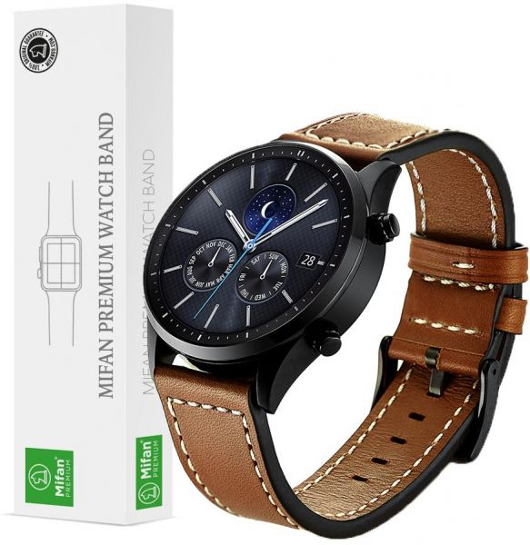 fc83106f702 Samsung Gear S3 2018 Galaxy Watch 46mm Band Replacement Mifan Premium Soft  Supreme Style Genuine Leather Brown 22mm Width Strap with White Stitch Line  ...
