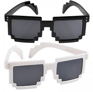 881292383da 2 PCS Colorful Pixel Glasses -Unisex Gamer Reflective Lens in Assorted  Colors - Gift Ideas