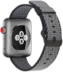4351ceeaaa8 Woven Nylon Fabric Wrist Strap Replacement Band with Classic Square  Stainless Steel Buckle Compatible for Apple iWatch Series 1 2 3