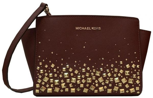 Michael Kors Selma Studded Medium Satchel Bag For Women - Merlot ... 404d46418f